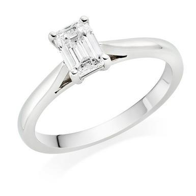 Platinum Diamond Emerald Cut Solitaire Ring