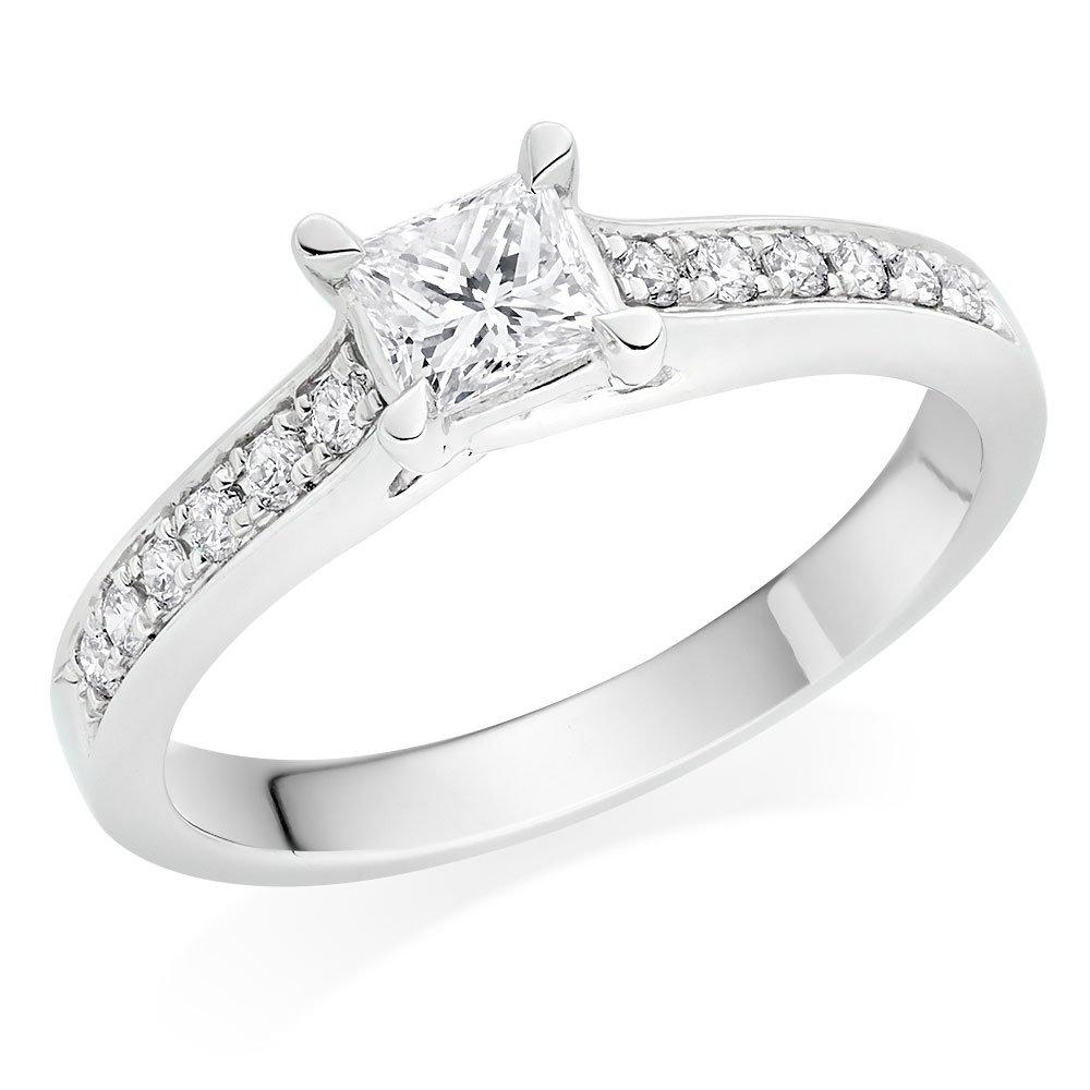 Platinum Diamond Princess Cut Ring