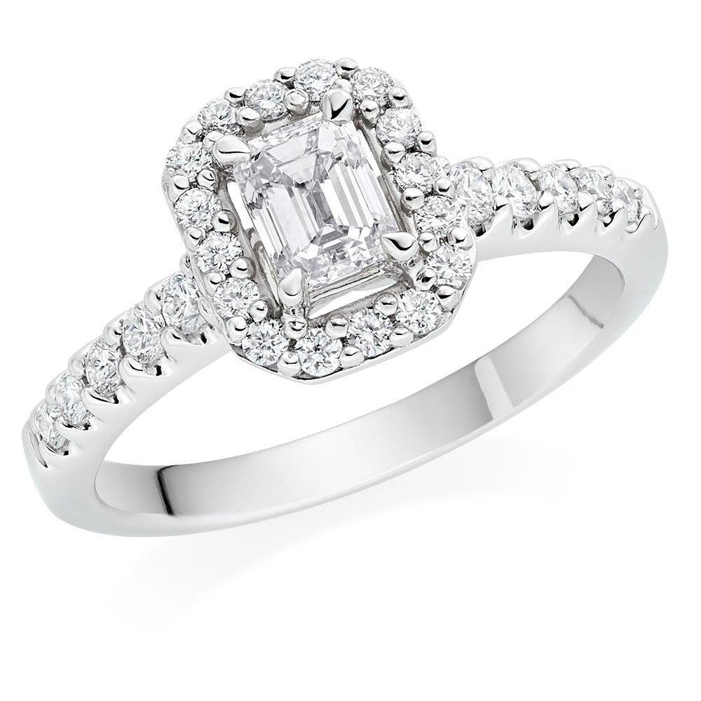 Platinum Diamond Emerald Cut Halo Ring