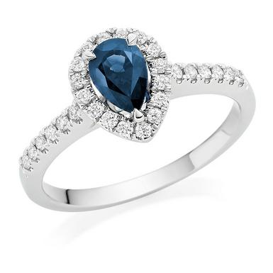 18ct White Gold Diamond Sapphire Pear Shaped Halo Ring
