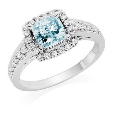 18ct White Gold Diamond Aquamarine Ring