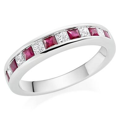 18ct White Gold Diamond Ruby Half Eternity Ring