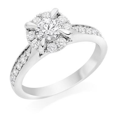 Platinum Diamond Halo Ring