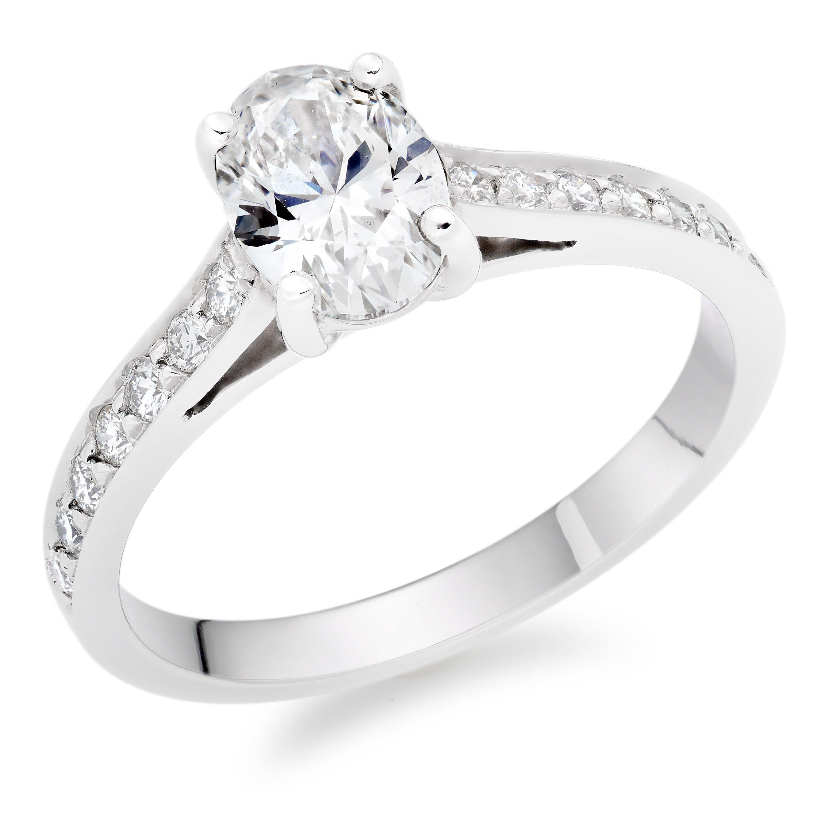 Once Platinum Diamond Oval Cut Solitaire Ring