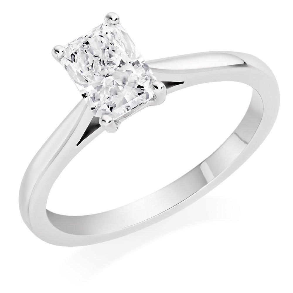 Once Platinum Diamond Radiant Cut Solitaire Ring