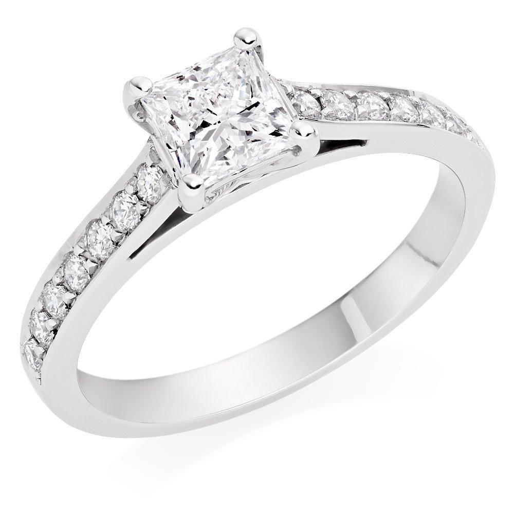 Once Platinum Diamond Princess Cut Solitaire Ring