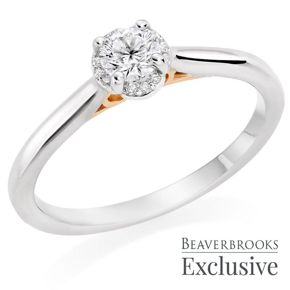 Beyond Brilliance 18ct White Gold and Rose Gold Diamond Halo Ring