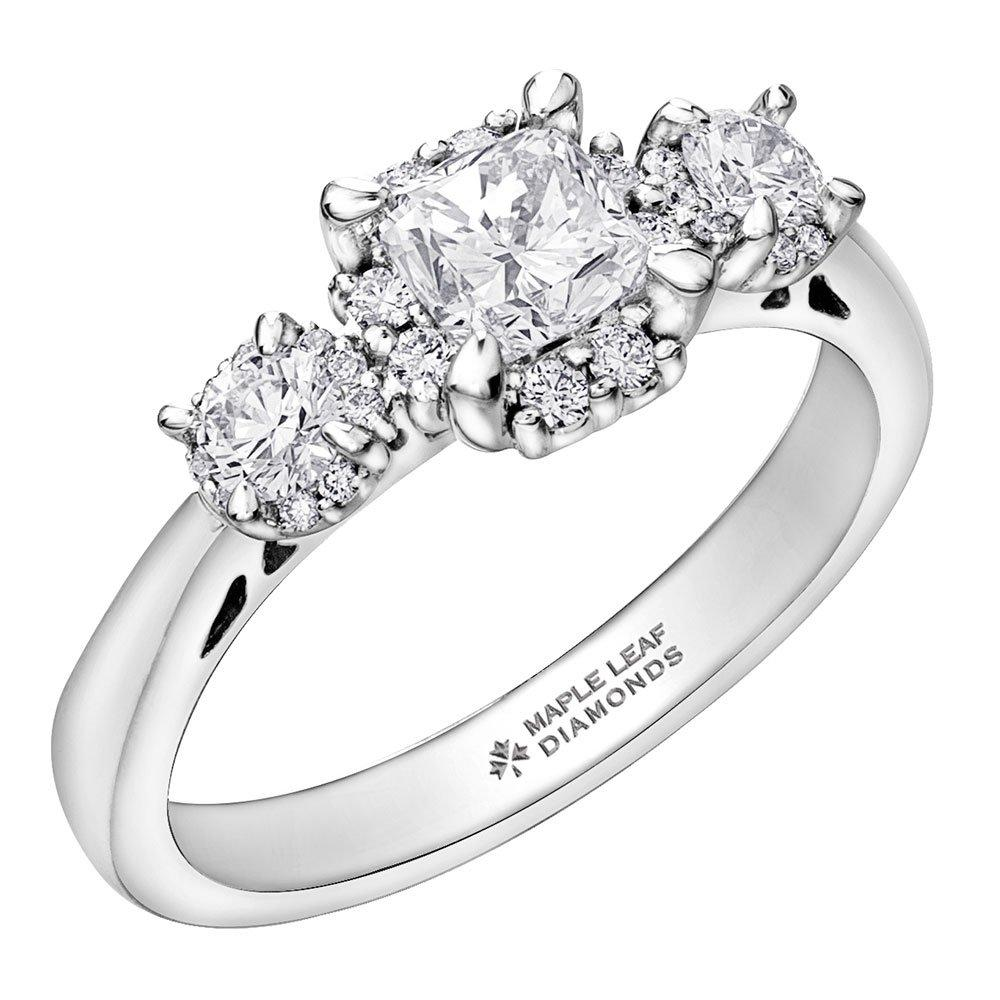 Maple Leaf Diamonds 18ct White Gold Three Stone Ring