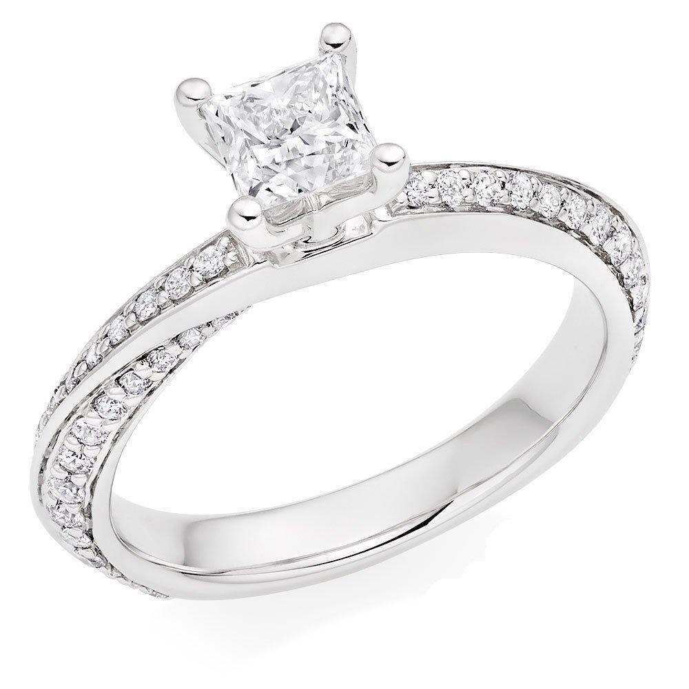 Platinum Diamond Princess Cut Solitaire Ring
