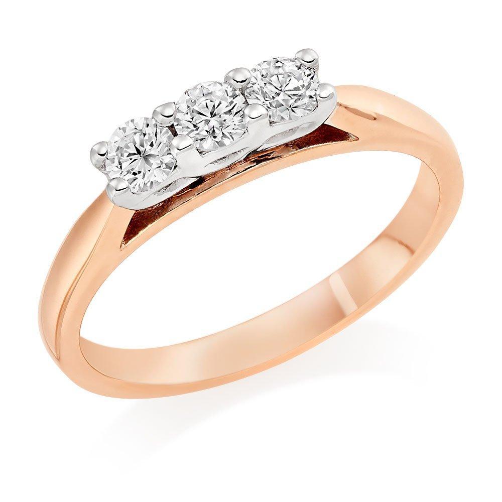 9ct Rose Gold Three Stone Diamond Ring