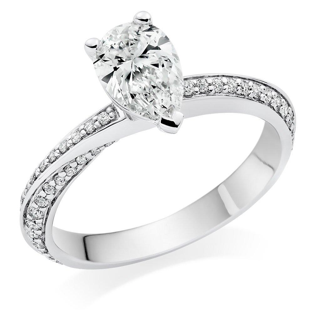 Once Platinum Diamond Pear Shaped Solitaire Ring