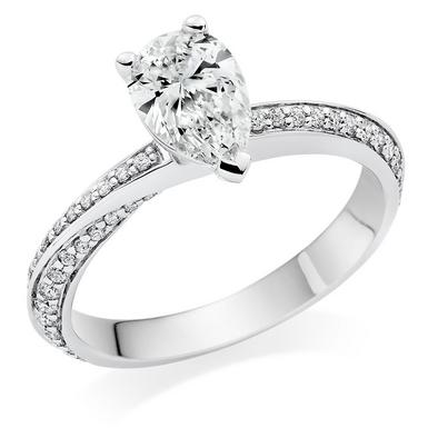Platinum Diamond Pear Shaped Ring