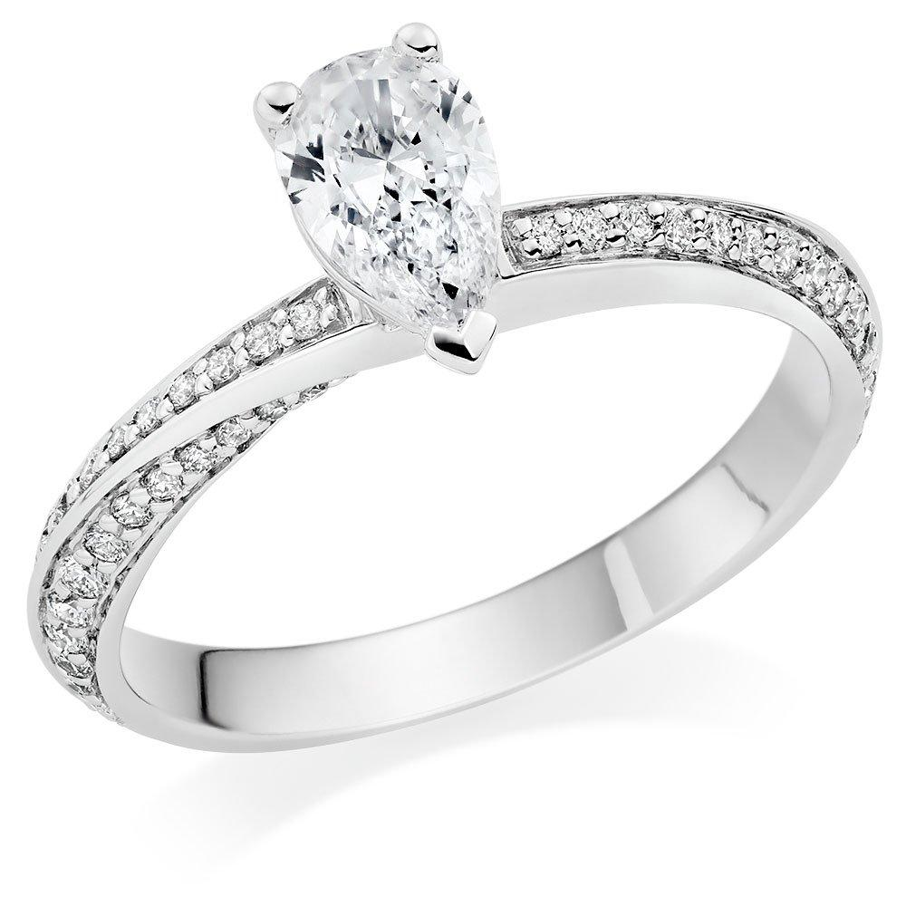 Platinum Diamond Pear Shaped Solitaire Ring