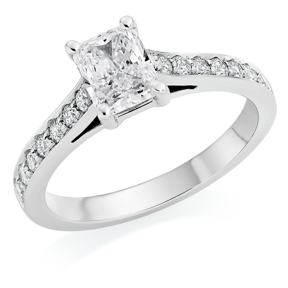 Platinum Diamond Radiant Cut Solitaire Ring