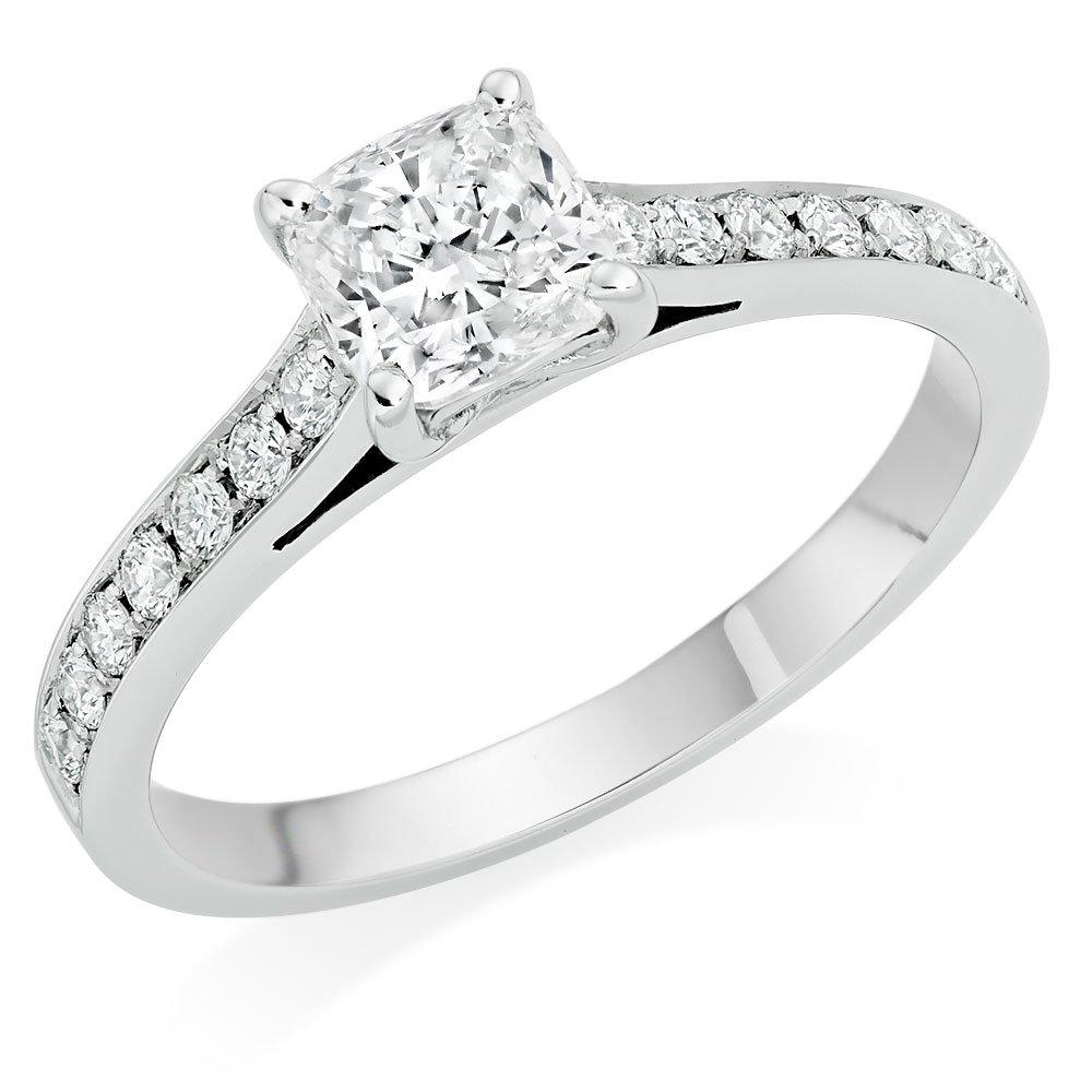 Once Platinum Diamond Cushion Cut Solitaire Ring