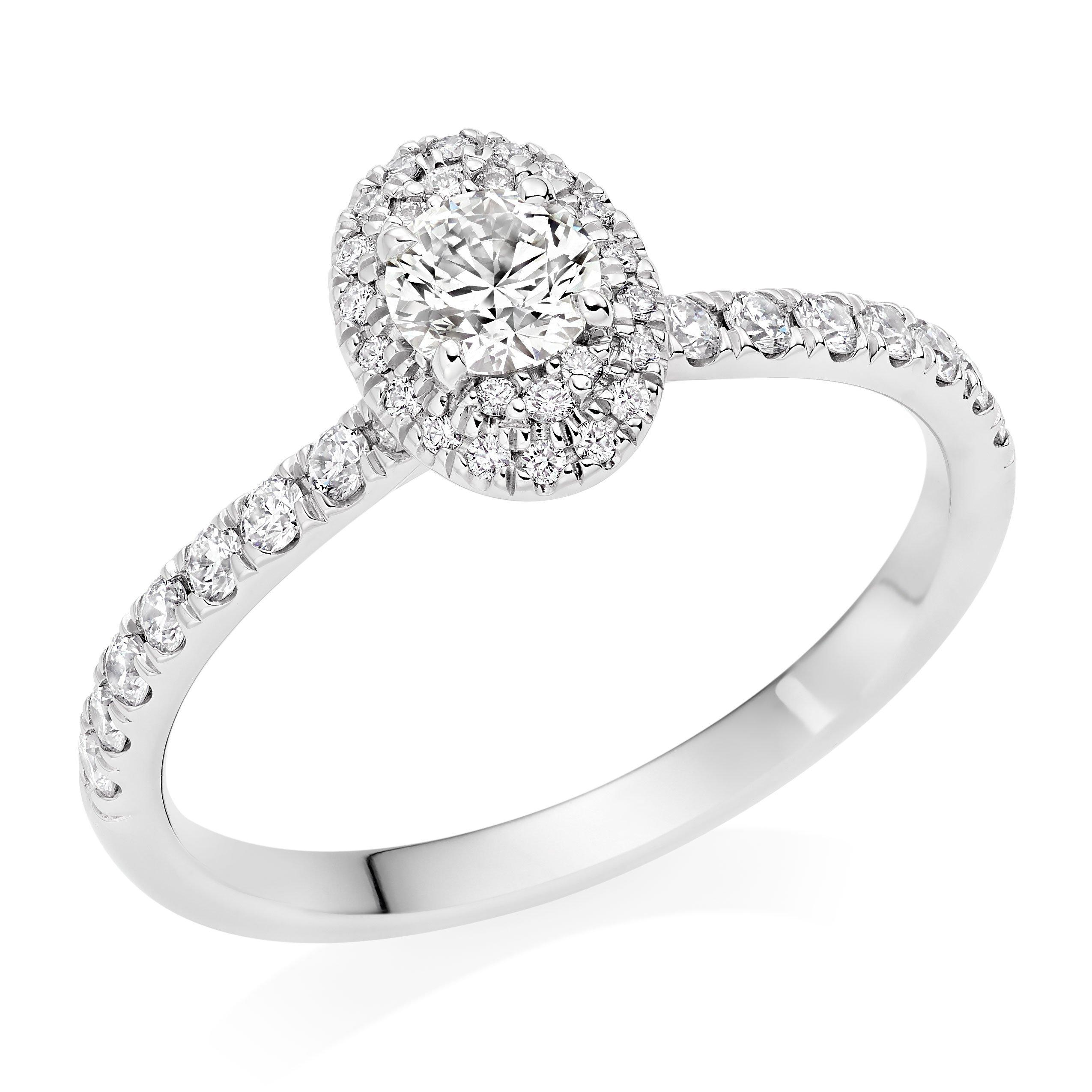 Hearts On Fire Juliette Platinum Oval Diamond Halo Ring