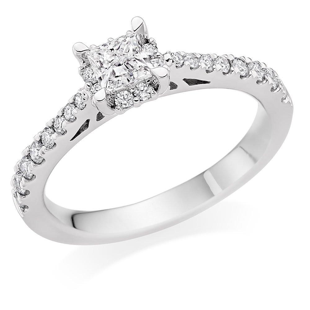 18ct White Gold Diamond Princess Cut Ring