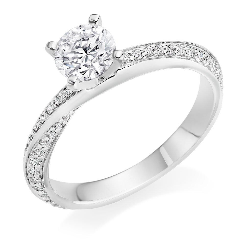 Platinum Diamond Twist Solitaire Ring