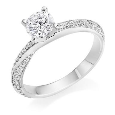 Platinum Diamond Twist Solitaire Ring