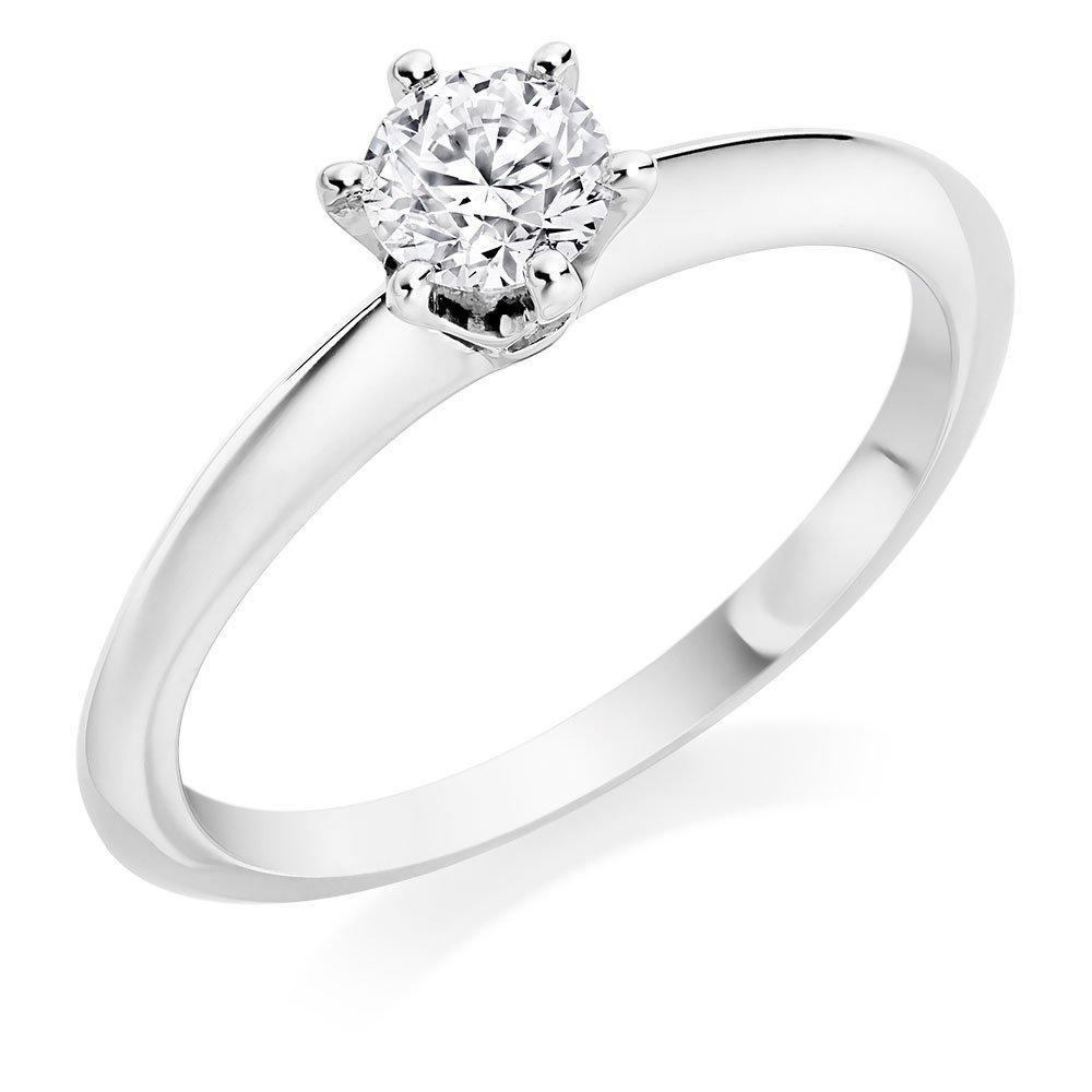 Platinum Six Claw Diamond Solitaire Ring