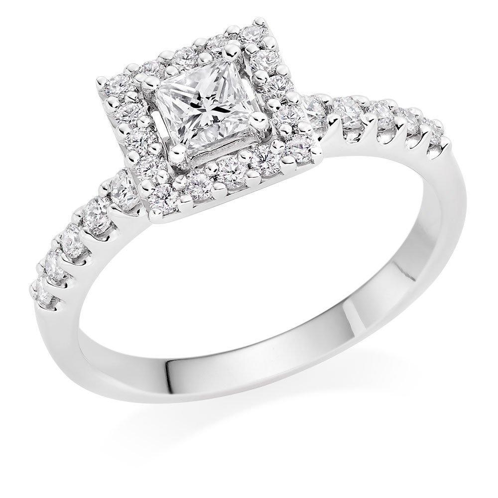 Platinum Diamond Princess Cut Halo Ring