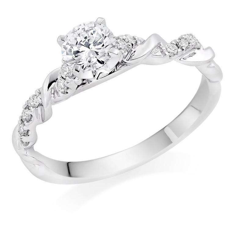 Entwine Platinum Diamond Solitaire Ring