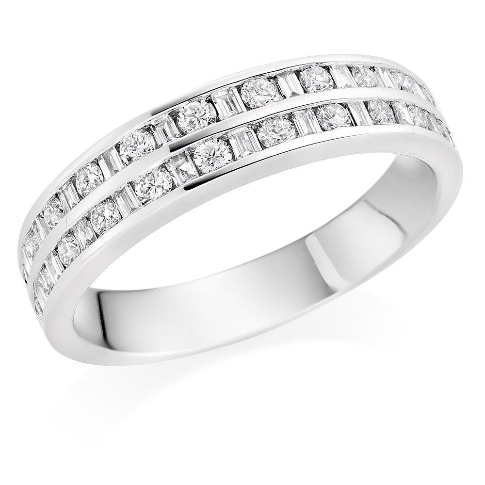 Platinum Diamond Two Row Half Eternity Ring