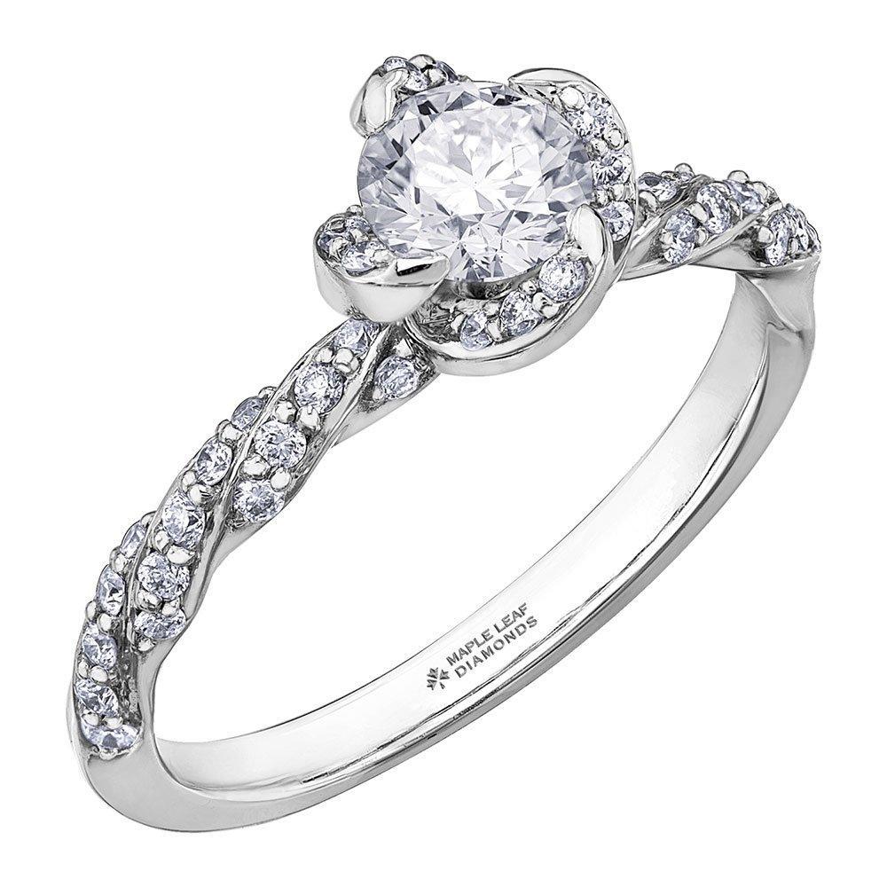 Maple Leaf Diamonds Wind's Embrace 18ct White Gold Diamond Halo Ring