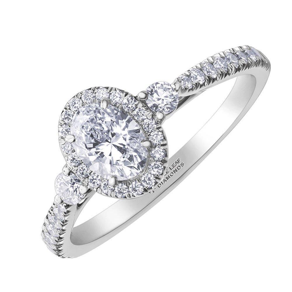 Maple Leaf Diamonds 18ct White Gold Oval Halo Diamond Ring