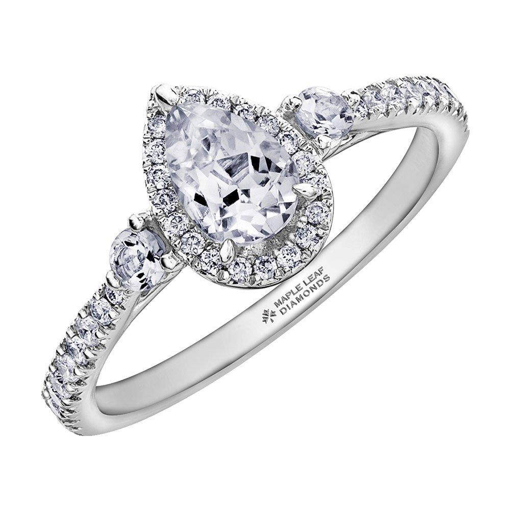 Maple Leaf Diamonds 18ct White Gold Pear-Shaped Diamond Halo Ring