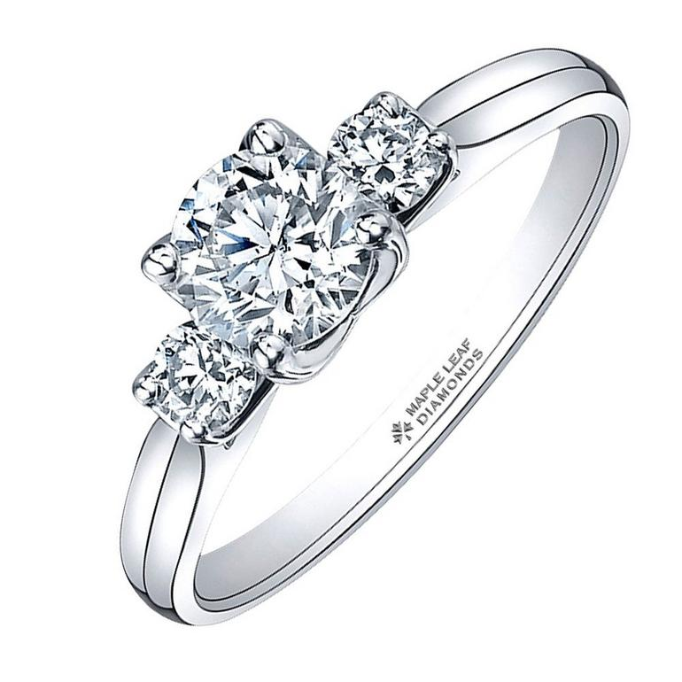 Maple Leaf Diamonds Eternal Flame 18ct White Gold Three Stone Diamond Ring