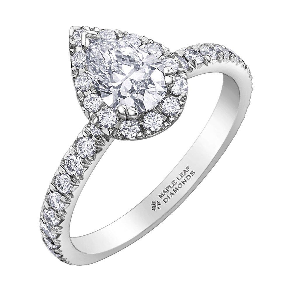 Maple Leaf Diamonds 18ct White Gold Diamond Pear-Shaped Ring