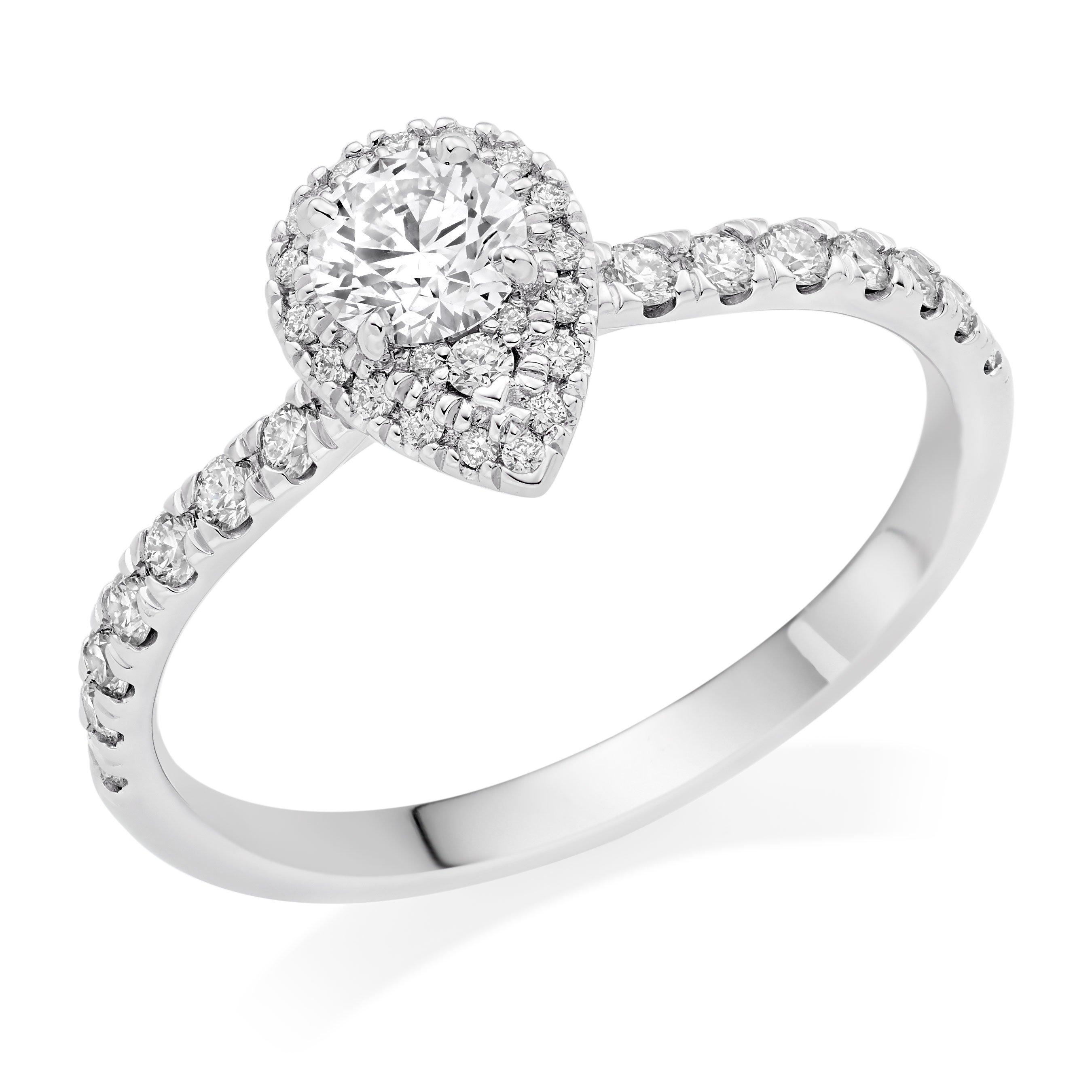 Hearts On Fire Platinum Pear-Shaped Diamond Halo Ring