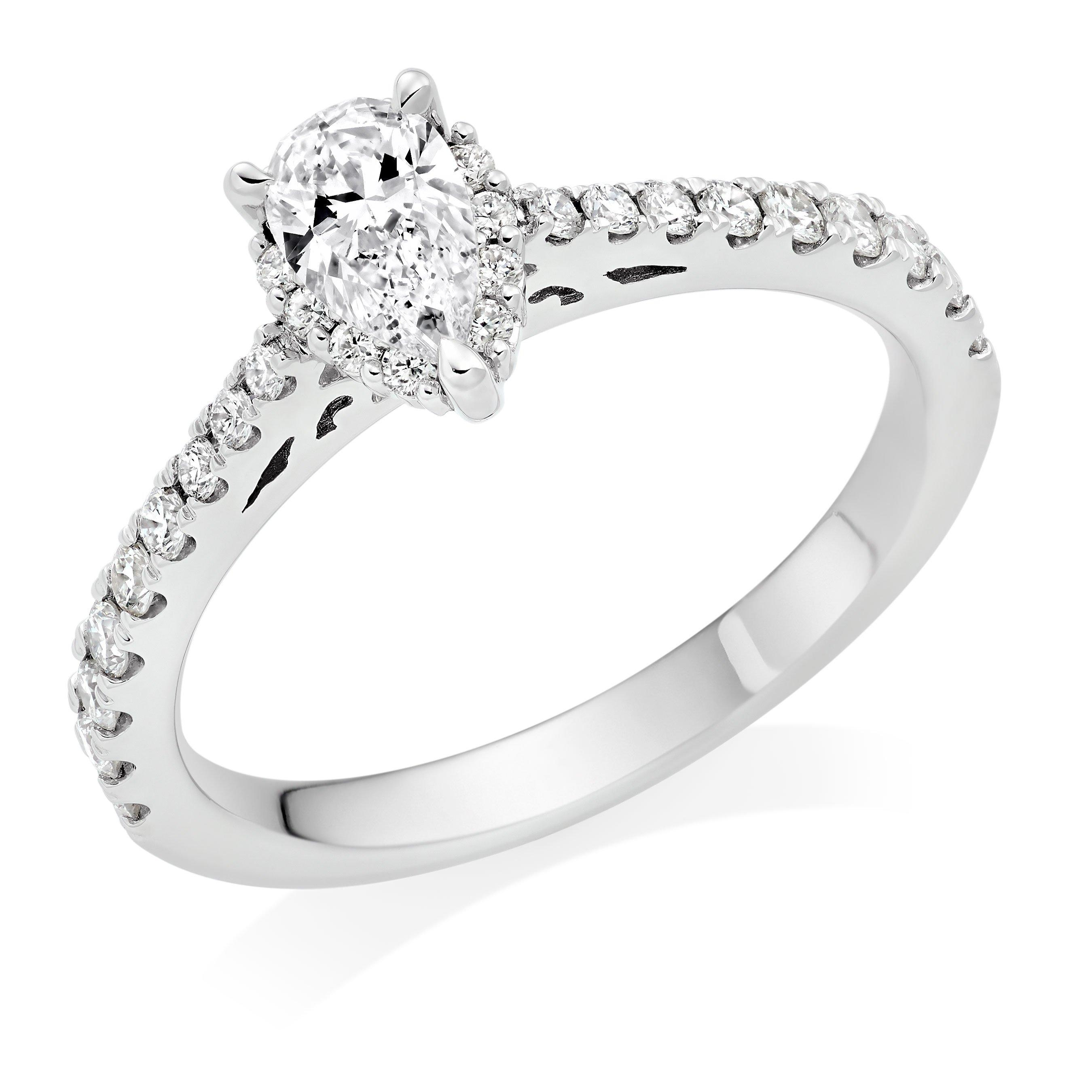 Platinum Pear Shaped Diamond Halo Ring