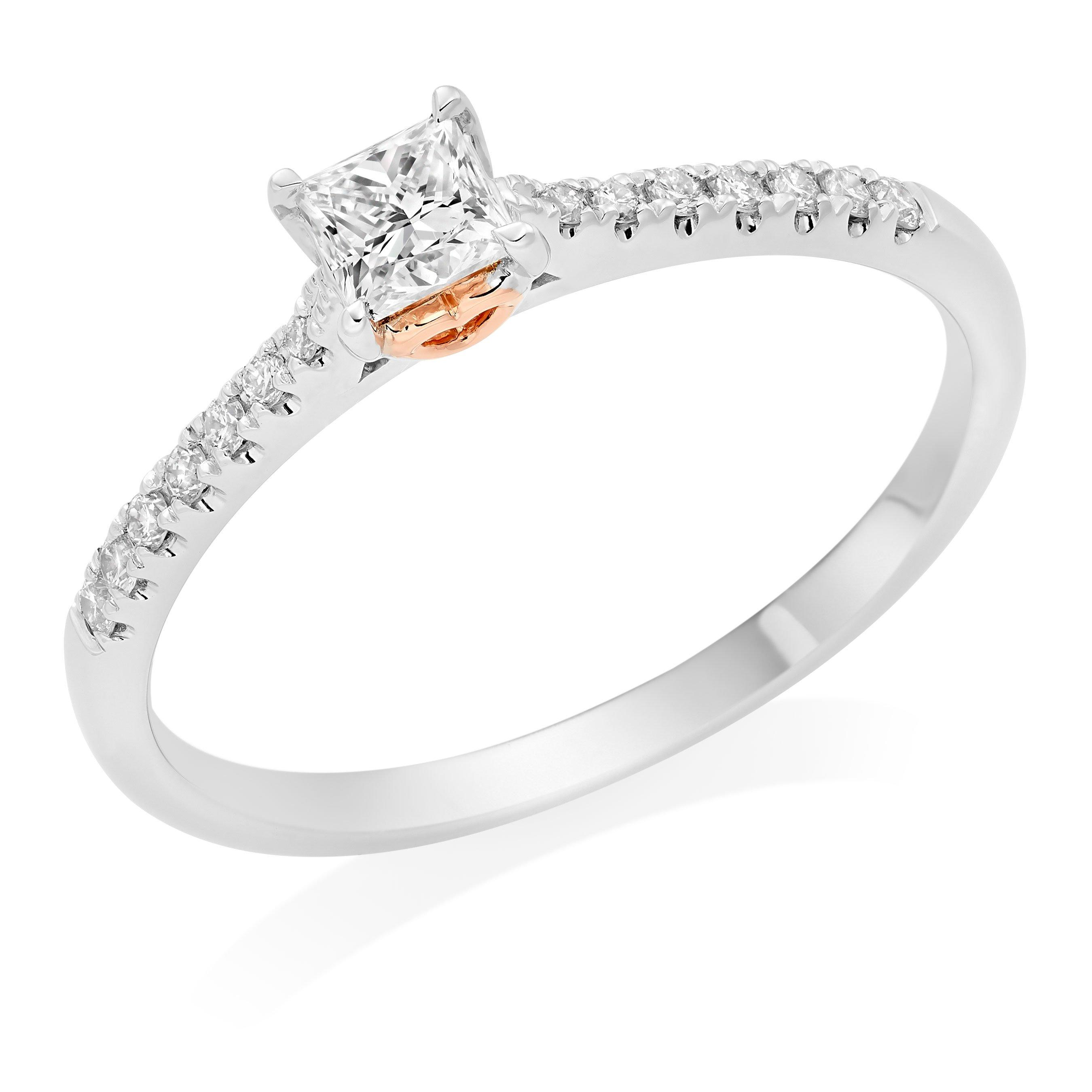 Rose Hearts 18ct White Gold and Rose Gold Diamond Princess Cut Solitaire Ring