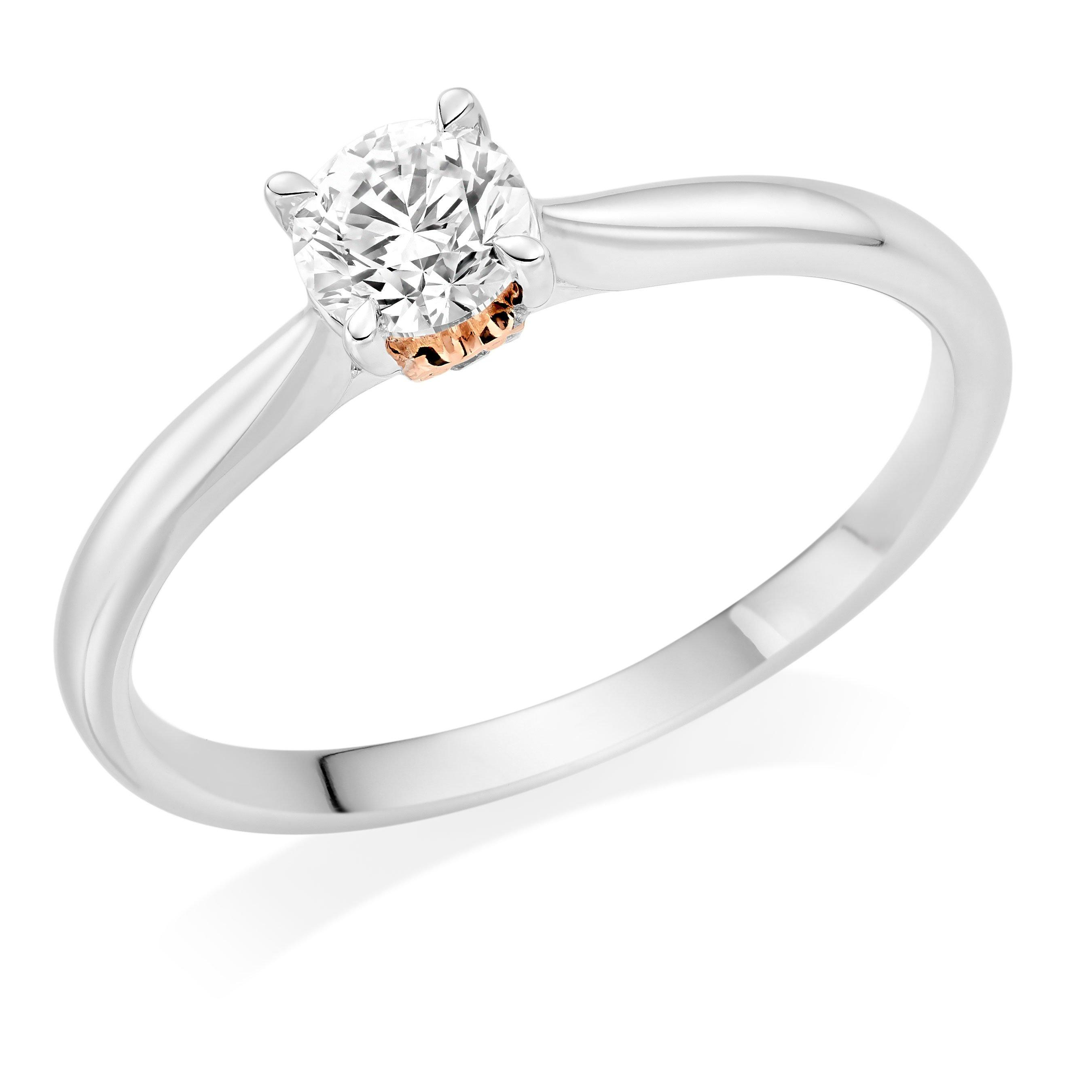 Rose Hearts 18ct White Gold and Rose Gold Diamond Solitaire Ring