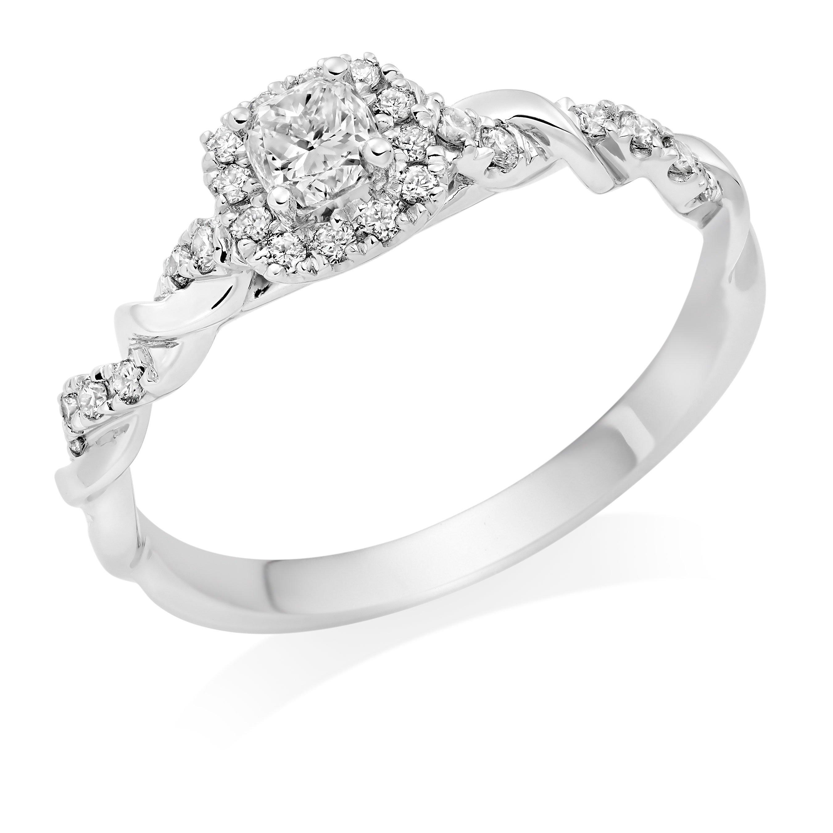 Entwine Platinum Diamond Cushion Cut Halo Ring