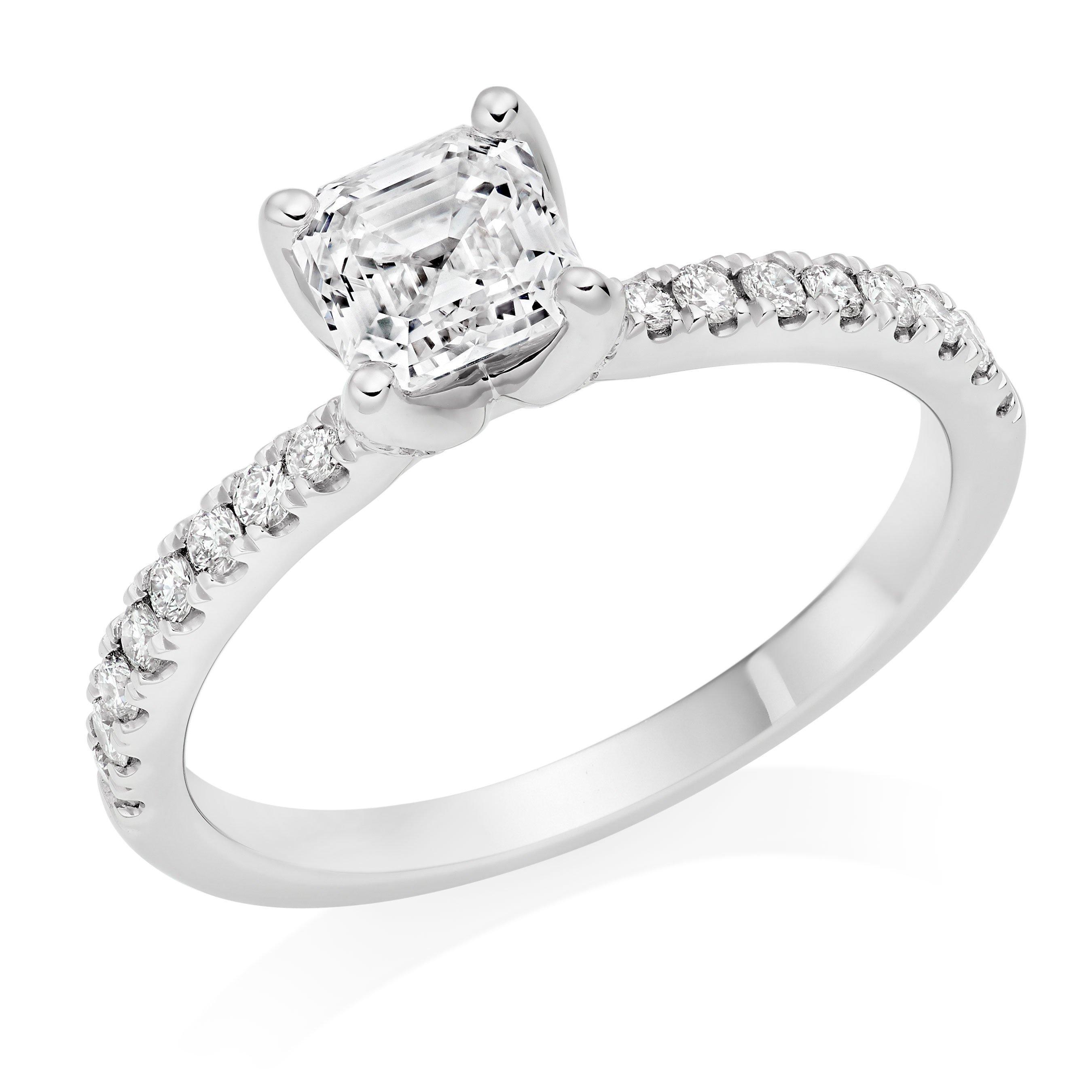 Royal Asscher Platinum Diamond Solitaire Royal Asscher Cut Ring