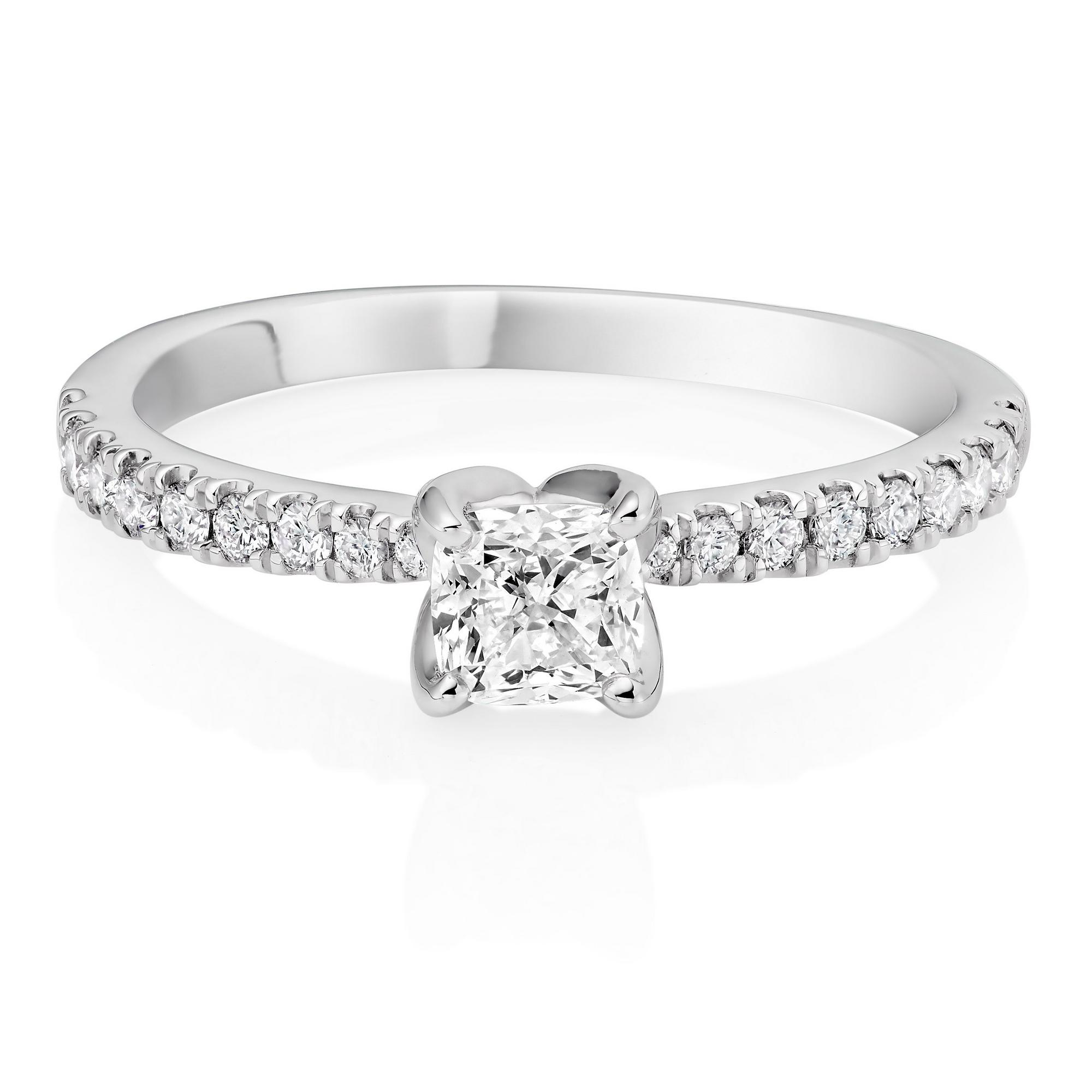 Royal Asscher Guinevere Platinum Diamond Royal Asscher Cushion Cut Solitaire Ring