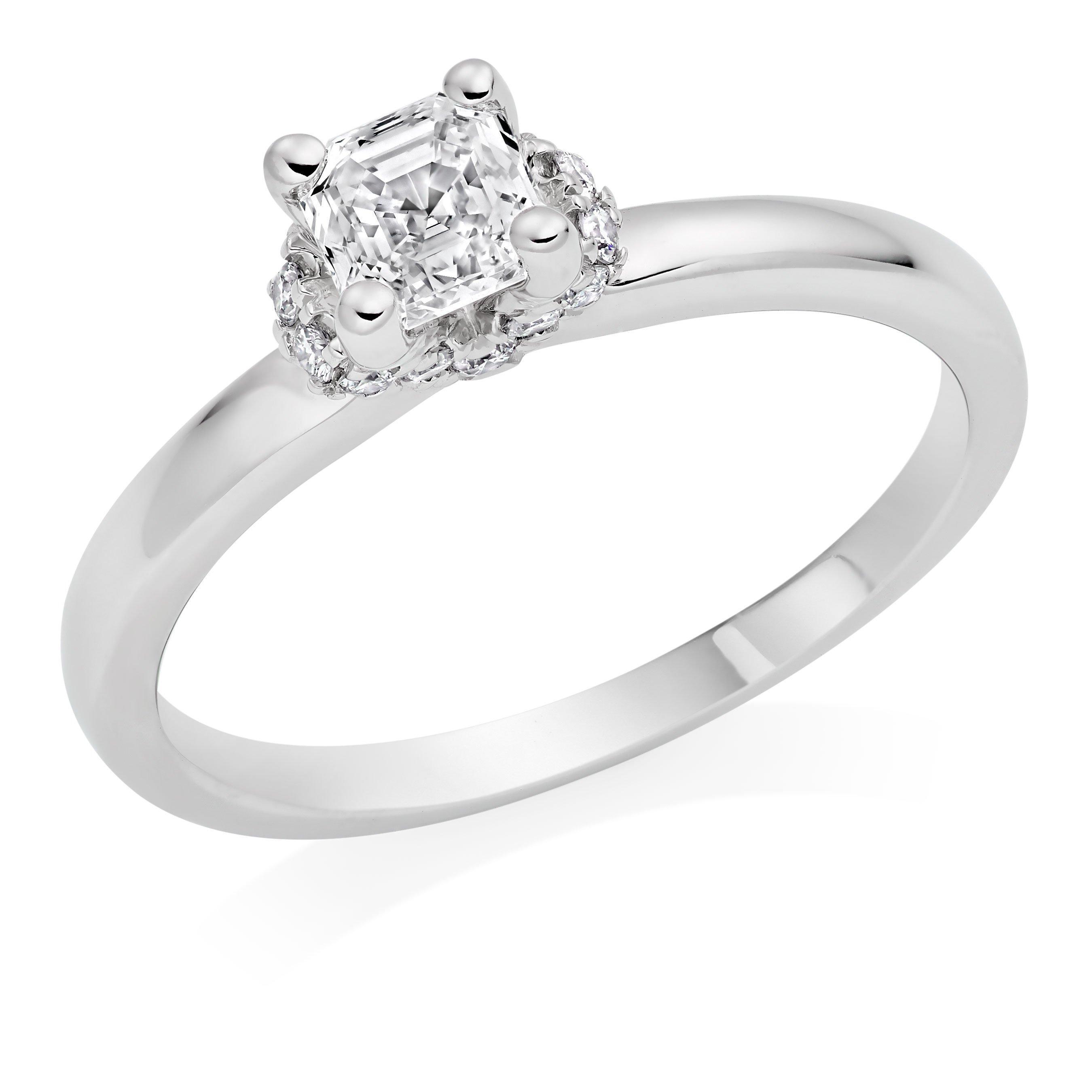 Royal Asscher Platinum Diamond Halo Royal Asscher Cut Ring