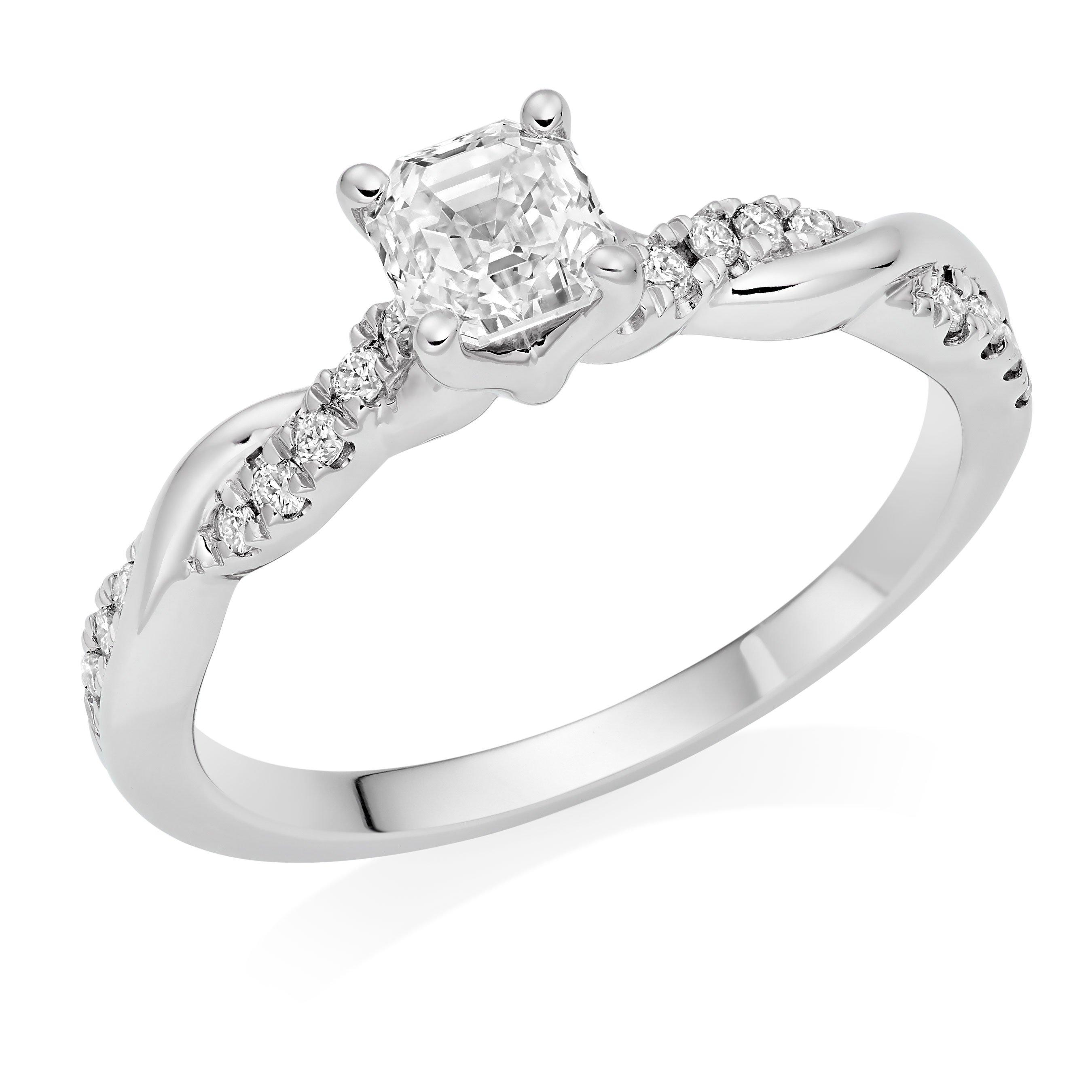 Royal Asscher Platinum Diamond Royal Asscher Cut Twist Solitaire Ring