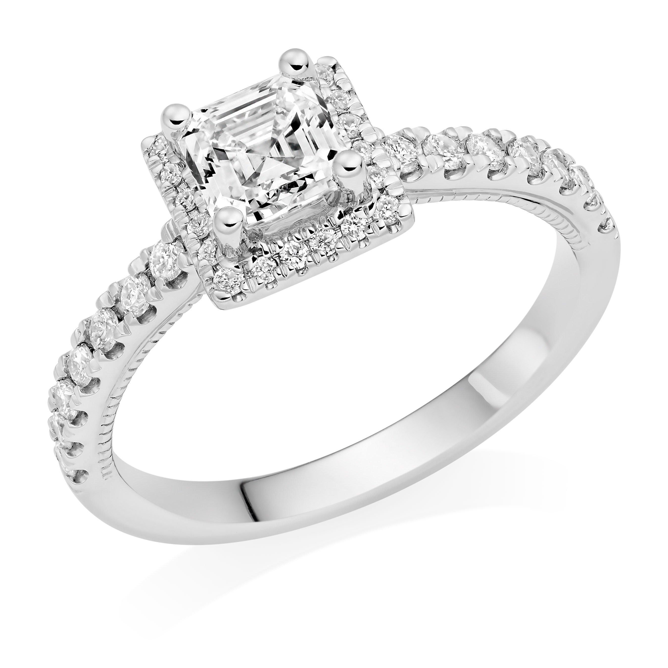 Royal Asscher MaryPlatinum Diamond Royal Asscher Cut Halo Ring