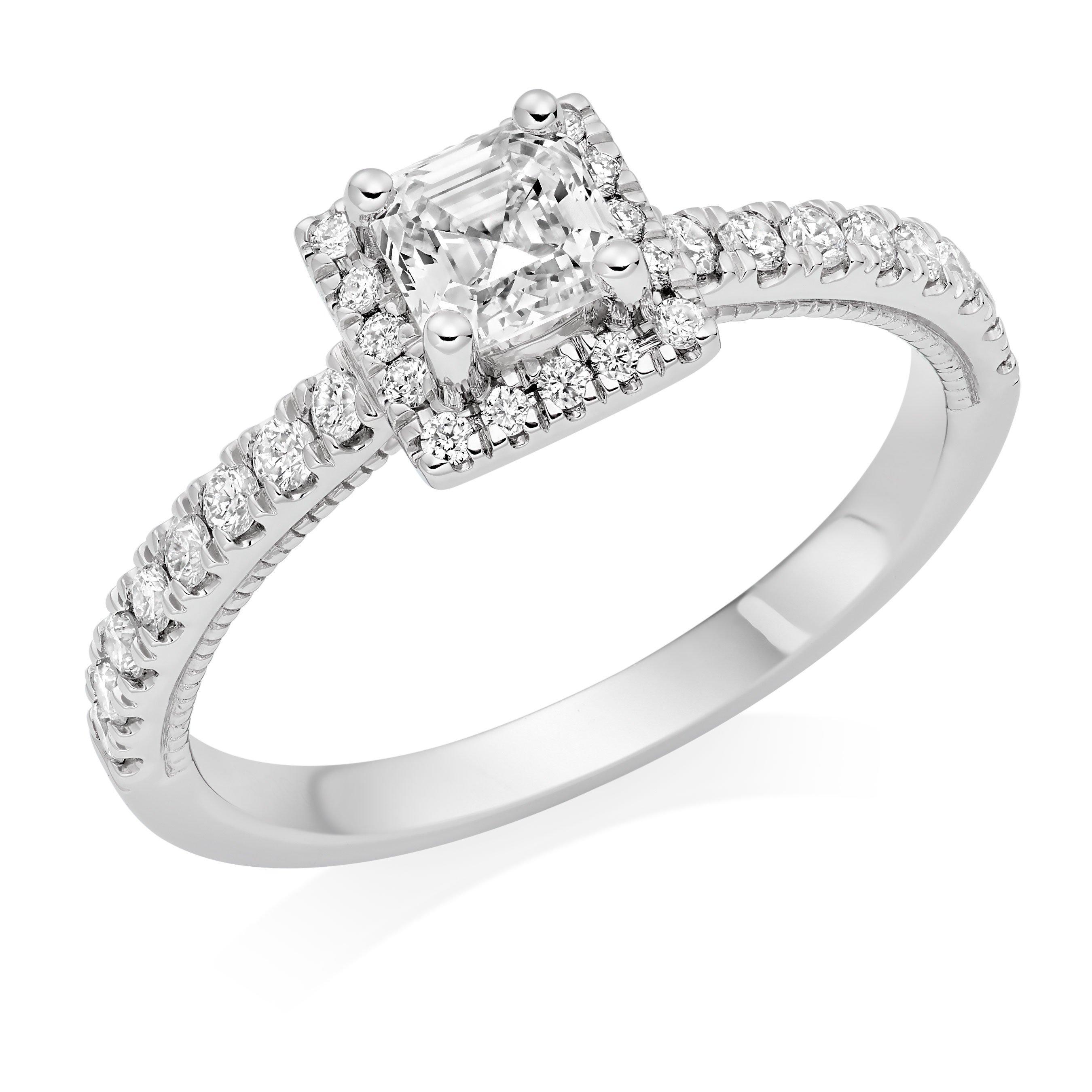 Royal Asscher Platinum Diamond Royal Asscher Cut Halo Ring