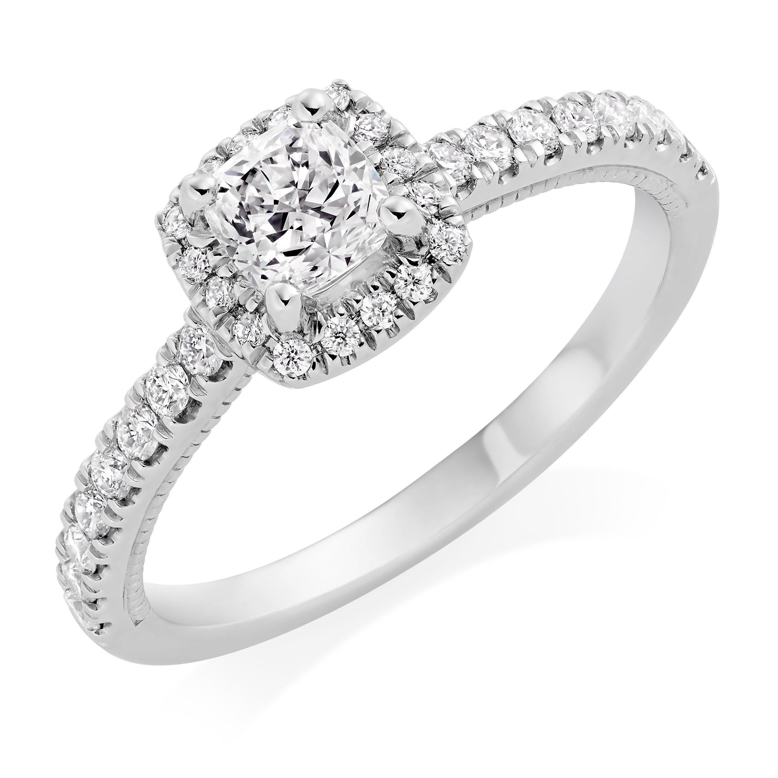 Royal Asscher Cushion Cut Platinum Diamond Halo Ring