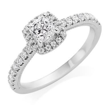 Royal Asscher Platinum Diamond Halo Ring