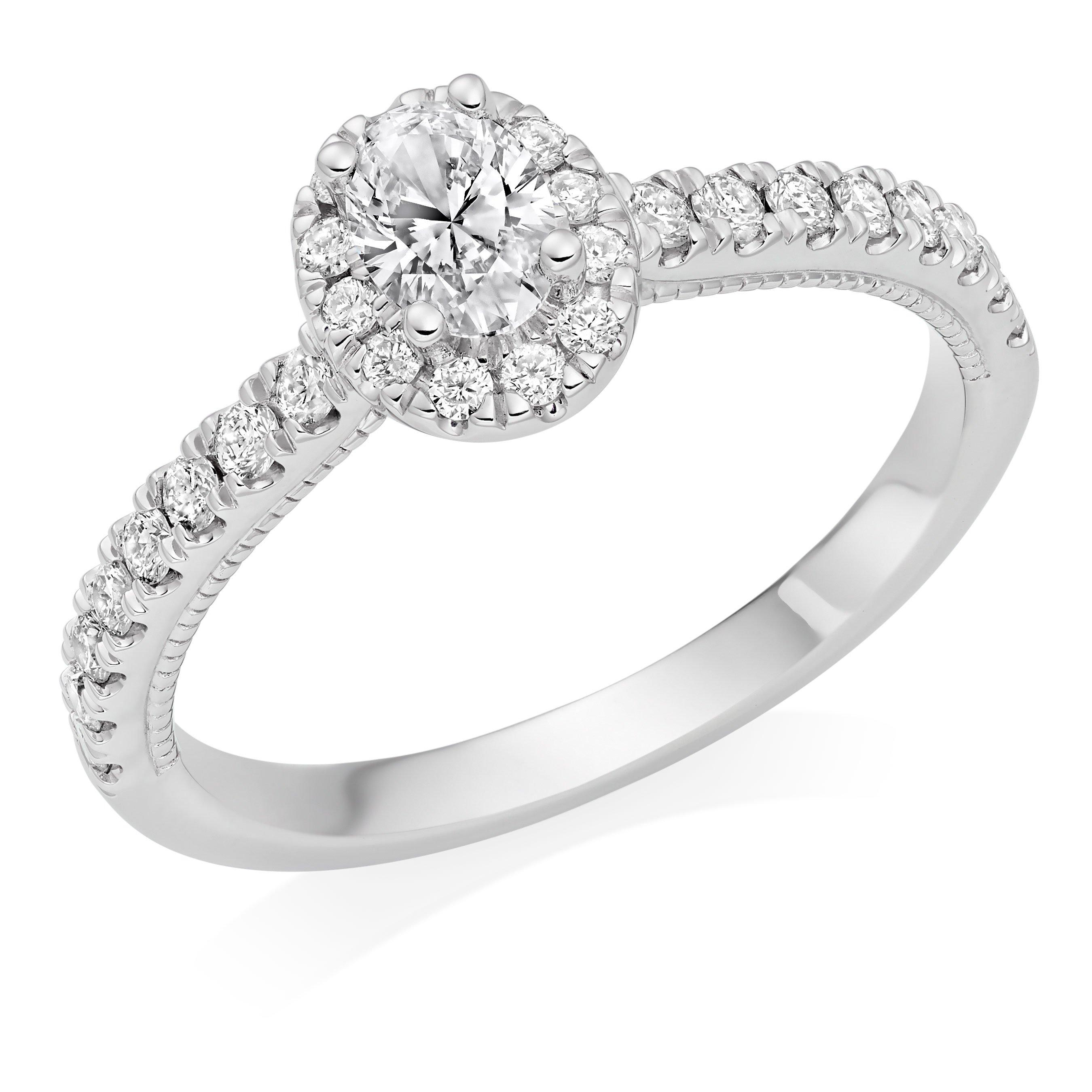 Royal Asscher Oval Cut Platinum Diamond Halo Ring