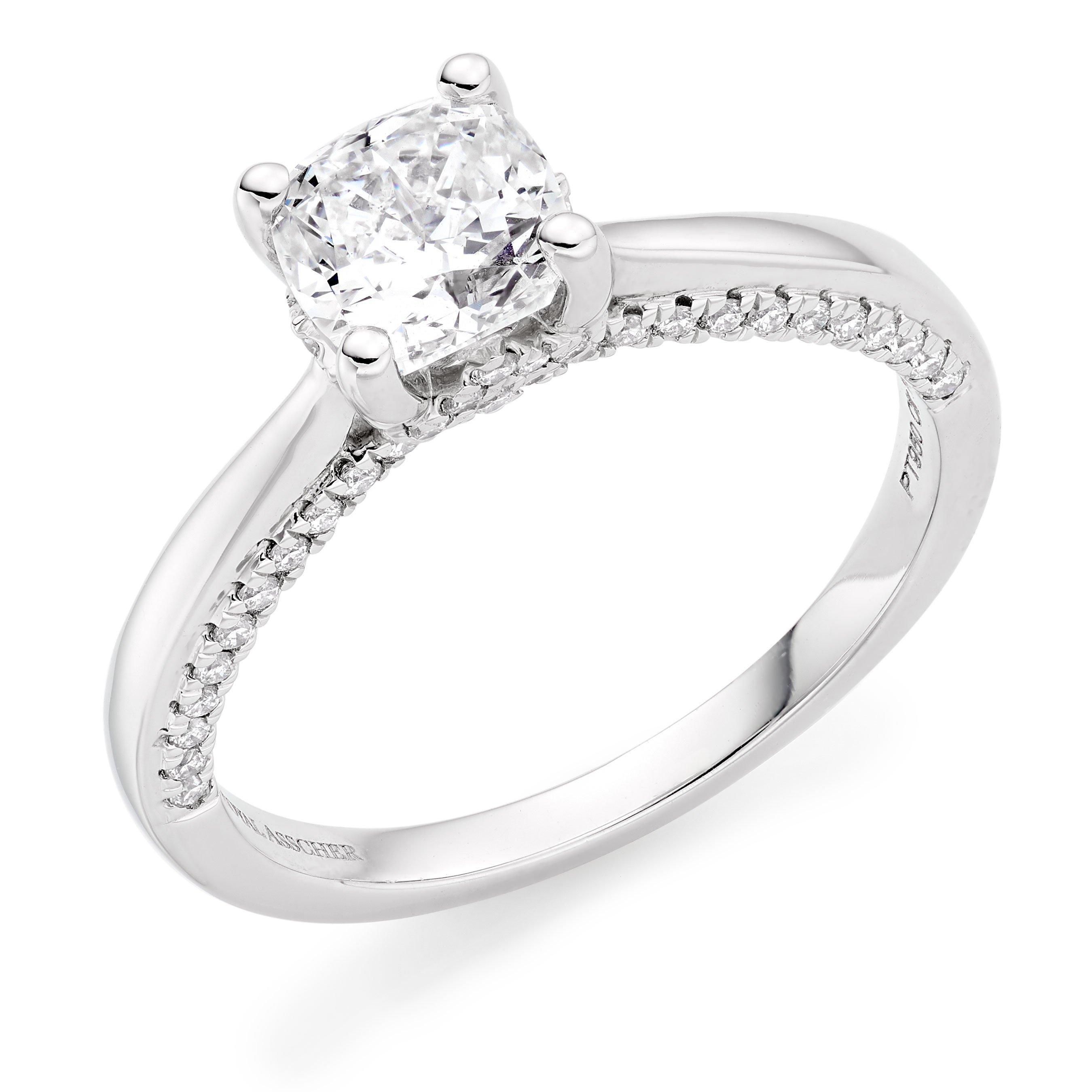 Royal Asscher Cushion Cut Platinum Diamond Solitaire Ring