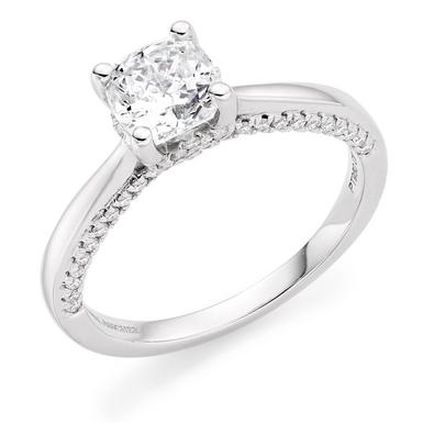 Royal Asscher Platinum Diamond Solitaire Ring