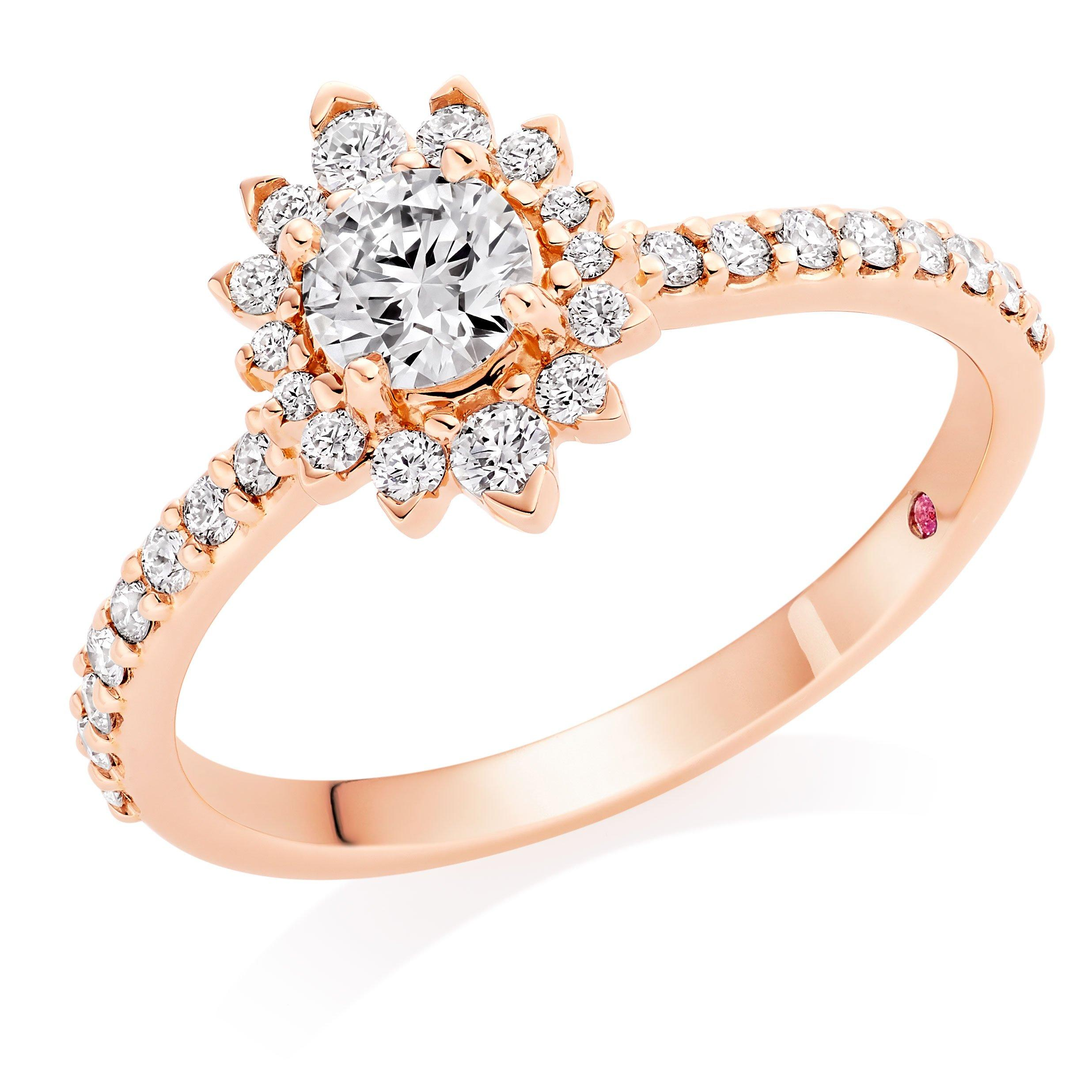 Hearts On Fire Hayley Paige Behati 18ct Rose Gold Diamond Halo Ring