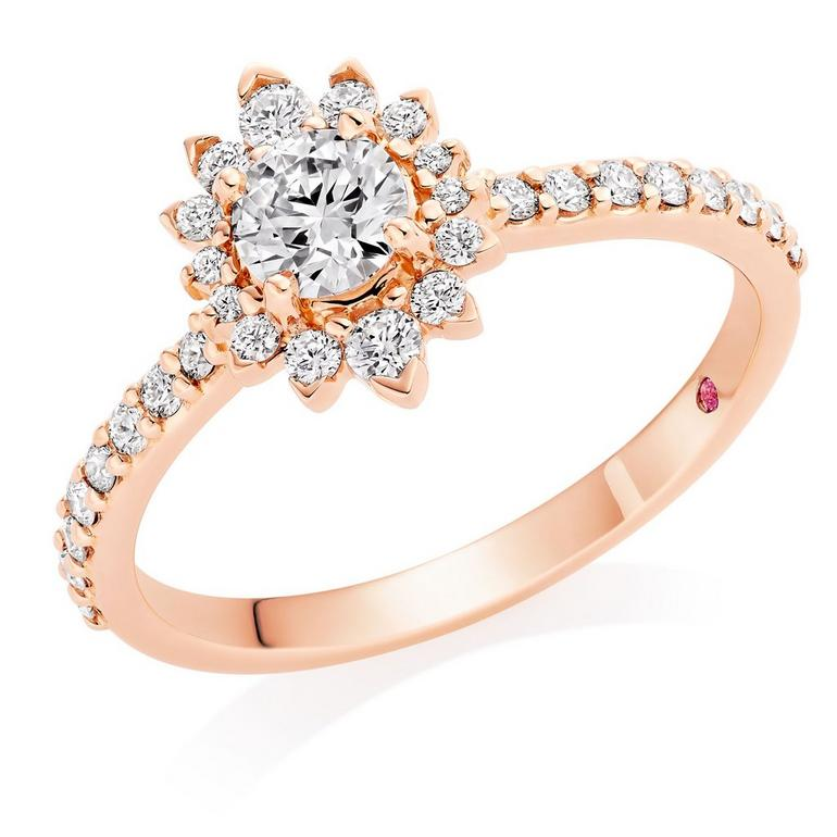 Hearts On Fire Hayley Paige Behati 18ct Rose Gold Diamond Ring